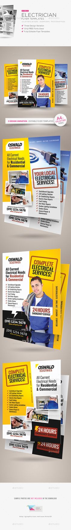 Electrician Flyer Templates  #electrical #plumber #house • Click here to download ! http://graphicriver.net/item/electrician-flyer-templates/15249792?ref=pxcr