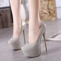 Fashion Women Round Toe Height Platform Extreme High Heels Shoes 16CM Sexy  Pumps Nightclub Evening Party Red Black 40 b3af248521ea