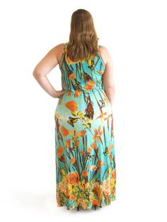 Detalhe do produto - Vestido Regata Longo Viscolycra Estampado Plus Size