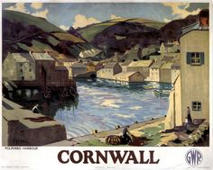 'POLPERRO HARBOUR': art print of Great Western Railway travel poster in the…