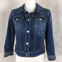 White House Black Market Jean Jacket Crop 3/4 Sleeve Bling Denim Size 12 #WhiteHouseBlackMarket #JeanJacket