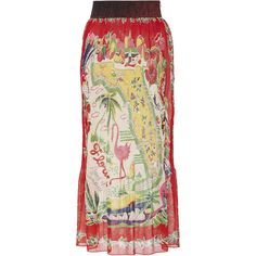 Anna Sui     Florida Pleated Skirt (1.770 RON) ❤ liked on Polyvore featuring skirts, red, red pleated skirt, pleated skirt, knee length pleated skirt, metallic midi skirt and red midi skirt