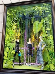 Lots of depth and volume to this Dior window display. Even cooler at night as the jungle illuminates from underneath.