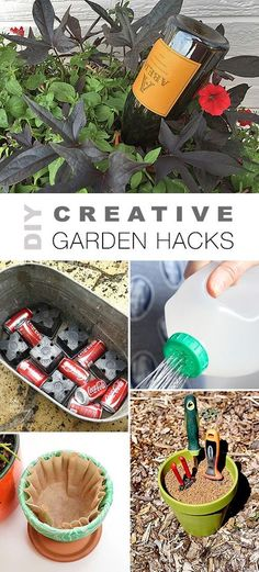 Check out all these DIY Creative Garden Hacks! • Lots of great ideas & tutorials like the wine bottle watering trick, self cleaning garden tool storage, budget watering can and lots of other projects! #DIYgardenhacks #DIYgardenprojects #gardening #DIY #gardenprojects #gardeningtips #gardenhacks #DIYselfwatering Diy Garden Projects, Diy Garden Decor, Garden Tools, Organic Gardening, Gardening Tips, Gardening Gloves, Invasive Plants, Pot Jardin, Garden Tool Storage