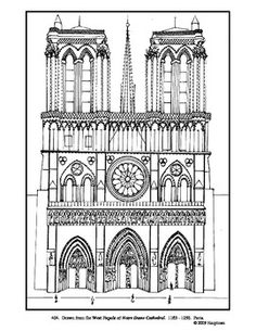 Notre Dame Cathedral. Coloring page.