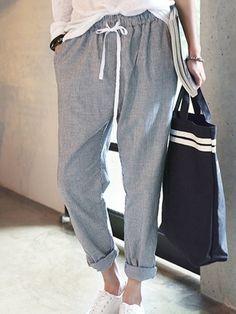 New Fashion Pants Women Cotton Haram Pants Striped Casual Trousers Women's Pants Gray Calcas femininas Slim Fit Plus Size Knit Pants, Linen Pants, Trouser Pants, Jogger Pants, Pants For Women, Clothes For Women, Trousers Women, Blouse And Skirt, Drawstring Pants