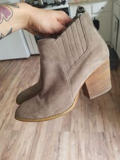 68b07a01d17 suede chunky heel crown vintage slip on booties winter bootie  fashion   clothing  shoes