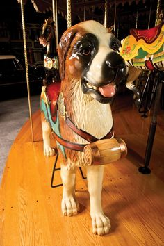 Milhous Collection Carousel- It contains 42 different animals--including many that you'd never see on a standard carousel. Merry Go Round Carousel, San Bernardo, Bernard Dog, Wooden Horse, Painted Pony, Carousel Horses, Fantasy, Beautiful Horses, Dog Pictures