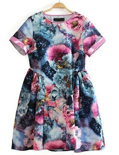 Blue Short Sleeve Floral Flare Dress