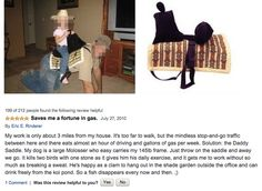 """This review of a """"Daddle"""": a saddle for dads. 