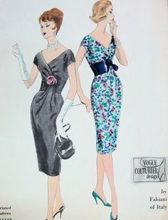 1960s FABIANI SLIM COCKTAIL DRESS PATTERN DEEP V NECKLINE STUNNING DESIGN VOGUE COUTURIER DESIGN PATTERNS 202