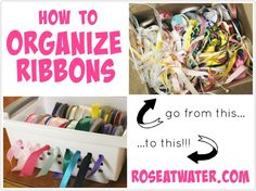 How to Organize Ribbons - Rose Atwater Ribbon Organization, Cake Craft, Cake Business, Cake Decorating Tutorials, Ribbons, Crafty, Rose, Tips, Organizers