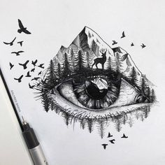 Striking Pen and Ink Drawings Illustrate the Human Connection to Nature - Pen and ink drawings by Alfred Basha // sketchbook drawings - Sketchbook Drawings, Pencil Art Drawings, Cool Art Drawings, Animal Drawings, Art Sketches, Easy Drawings, Unique Drawings, Realistic Drawings, Kawaii Drawings