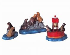 Lemax Plymouth Corners Village Sea Lion Resort 3-Piece Set #33407 Activity List, List Of Activities, Lemax Christmas Village, Christmas Villages, Nautical Christmas, Mini Gardens, Ceramic Houses, Collectible Figurines, Magical Creatures