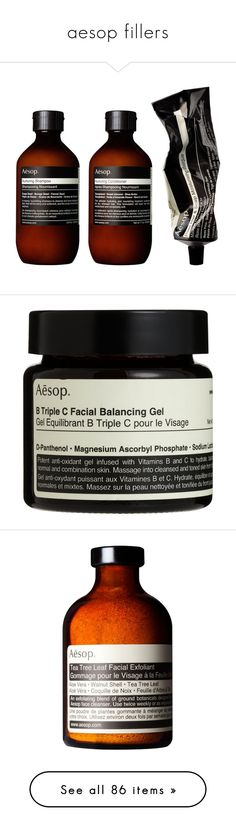 """aesop fillers"" by gemmonkey ❤ liked on Polyvore featuring beauty products, skincare, face care, beauty, fillers, makeup, cosmetics, black, colorless and aesop"