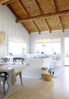 Beach cottages, beach houses, beach house decor, home decor, house ceil Cottage Living, Coastal Living, Cottage Style, White Cottage, Coastal Style, Lakeside Living, Coastal Homes, Wood Cottage, Cottage House
