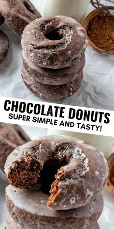 Chocolate Donuts Want an easy and tasty breakfast that whips up quick? These Chocolate Donuts are ready in under 20 minutes, glazed to perfection and are absolutely delicious. Baked Donut Recipes, Easy Donut Recipe, Fun Baking Recipes, Baked Sour Cream Donut Recipe, Healthy Baked Donuts, Easy No Bake Recipes, Cake Donut Recipe Baked, Chocolate Chip Biscotti Recipe, Chocolate Glazed Donuts Recipe