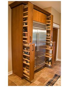 Kitchen Pantry Storage Cabinets Spice Racks 22 Ideas For 2019 Small Kitchen Storage, Kitchen Storage Solutions, Pantry Storage, Kitchen Organization, Storage Racks, Organization Ideas, Storage Cabinets, Wall Pantry, Spice Cabinets