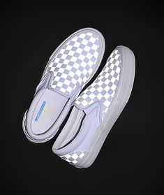 Skate in comfort with the eye-catching Slip-On Pro Reflect White Skate Shoes from Vans. This classic skate shoe from Vans features a crisp white colorway with a reflective checkerboard pattern throughout, for a bold look. Zapatillas Nike Cortez, Shorts E Blusas, Vans Slip On Pro, Slip On Vans Women, Vans Classic Slip On, Vans Shoes Fashion, Custom Vans Shoes, Custom Slip On Vans