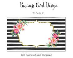 Floral Watercolor Business Card, DYI Blank Business Card Template - Oh Kate, Made to Match Etsy Sets and Facebook Covers, Business Card