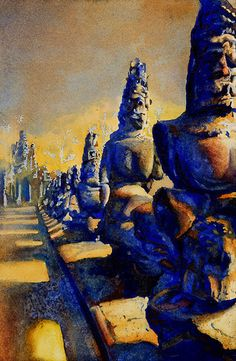 Watercolor painting of stone statues outside of the ruined city of Angkor Thom- Angkor Wat ruins in Cambodia by RFoxWatercolors