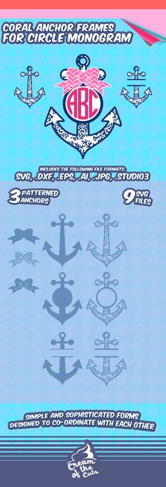 Hey, I found this really awesome Etsy listing at https://www.etsy.com/listing/290300165/coral-anchors-svg-preppy-monogram-frames