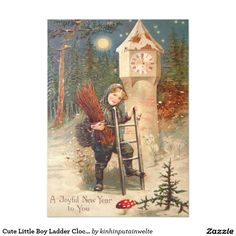 Cute Little Boy Ladder Clock Tower Snow 5x7 Paper Invitation Card
