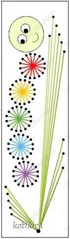 Закладка День защиты детей Аппликация Изонить Детям Закладки Изонить Картон Нитки фото 2