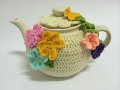 Pretty Flowers Crochet Teapot Cozy - Only 3 Available - Tea Cup Teapot Cozies - Roses And Teacups  - 1