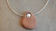 Drilled Beach Stone Necklace with Freshwater Pearl and Sterling Silver Cable Chain; pebble necklace, rock necklace,… thegildedlilystore