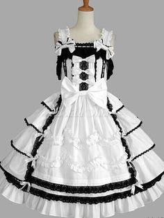 Weißer Baumwolle Bögen Lolita Kleid für Frauen - Lolitashow.com