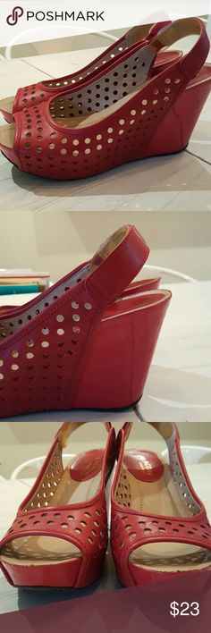 """Kenneth Cole Reaction Red Wedges NWOT These red wedges have never seen the outside ground and have no foot bed wear. 3"""" heel, 1"""" platform makes for a comfortable height. Small mars and one scrtach on the heal from being in a shoe bin. See photos. Kenneth Cole Reaction Shoes Wedges"""