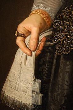 Detail of 'Portrait of a Lady' by Nicolaes Eliasz Pickenoy, c. 1630.