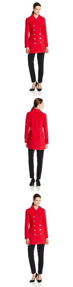 Ivanka Trump Women's Wool Peacoat Coat, Red, 4