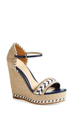 """Free shipping and returns on Gucci 'Tiffany' Wedge Sandal (Women) at Nordstrom.com. <p><B STYLE=""""COLOR:#990000"""">Pre-order this style today! Add to Shopping Bag to view approximate ship date. You'll be charged only when your item ships.</b></p><br>A snappy wedge with an espadrille edge, this quarter-strap silhouette features sailor-inspired striped accents and alluring curves of braided jute.<br>Salon Shoes."""