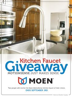 *This giveaway is now closed. Congratulations to our winners!* National Builder Supply is giving away TWO luxury Moen MotionSense kitchen faucets! Giveaway ends September 3rd. Enter here: http://sdqk.me/ehbJKl80