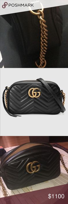 Authentic Gucci Marmont shoulder bag! (Small) Auth like NEW Gucci black  leather Marmont 409b54e9d1224