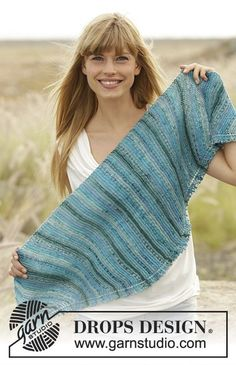"""Knitted DROPS shawl in garter st in """"Fabel"""". Free pattern by DROPS Design."""