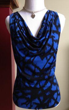 Calvin Klein Draped Front Top Shirt Blouse Black Blue Print Size S EUC! #CalvinKlein #KnitTop