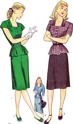 Vintage Sewing Pattern 1940s Simplicity 1357 Flared by paneenjerez, $14.00