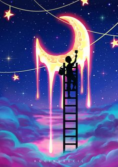 Paint The Moon by Villian-KucingKecil on DeviantArt art aesthetic Trippy Painting, Galaxy Painting, Galaxy Art, Star Painting, Moon Painting, Light Painting, Cute Wallpaper Backgrounds, Pretty Wallpapers, Galaxy Wallpaper