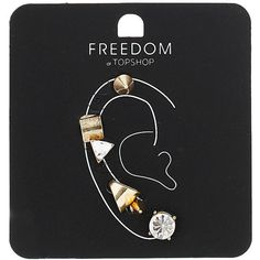 TOPSHOP Single Earring And Ear Cuff Pack (285 UAH) ❤ liked on Polyvore featuring jewelry, earrings, accessories, fillers, piercings, clear, topshop earrings, clear crystal jewelry, stud earrings and ear cuff earrings