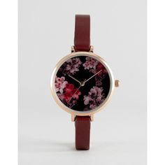 ASOS Pretty Floral Dial Detail Watch ($27) ❤ liked on Polyvore featuring jewelry, watches, red, floral crown, dial watches, asos watches, floral watches and asos jewelry