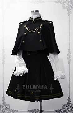 This Yolanda uniform style velvet lolita dress/outfit features the military style. The whole outfit is tailored by velvet with inside layer by polyester. This lolita outfit is for Autumn and Winter, with a big cape which is changeable. Cosplay Outfits, Edgy Outfits, Pretty Outfits, Pretty Dresses, Cool Outfits, Scene Outfits, Kawaii Fashion, Cute Fashion, Old Fashion Dresses