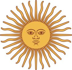 Vector illustration of Sun of May in the flag of Argentina. Drawing of one of the national emblems of Argentina. Art Soleil, Public Domain Clip Art, Argentina Flag, Inca Empire, Filipino Tattoos, Sun Art, Thinking Day, Mellow Yellow, Yellow Sun