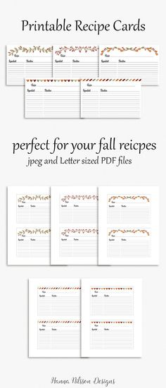 Free printable recipe cards pinterest recipe cards card printable recipe cards 4x6 cards to organize your favorite fall recipes forumfinder Choice Image