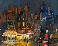 Paris by night on Rue Lepic in Montmartre / by Konstantin Korovin