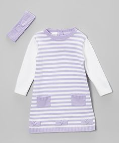 Love this Tots Fifth Avenue Lilac Stripe Knit Bow Dress & Headband - Infant & Toddler by Tots Fifth Avenue on #zulily! #zulilyfinds