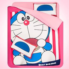 MeMoreCool Home Textile Cute Cartoon Doraemon 3 Pieces Bedding Set Boys and Girls Duvet Cover Set Students Bedding Sets Kids Bed Sheets Twin Size >>> Check this awesome product by going to the link at the image.