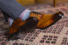 Di Bianco brogues, with toe taps and chocolate patina.